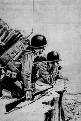 Combat picture with SCR-300-A Radio Set